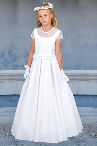 Biała sukienka komunijna z koronką